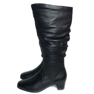David Tate Womens Black Slouchy Tall Leather Boots